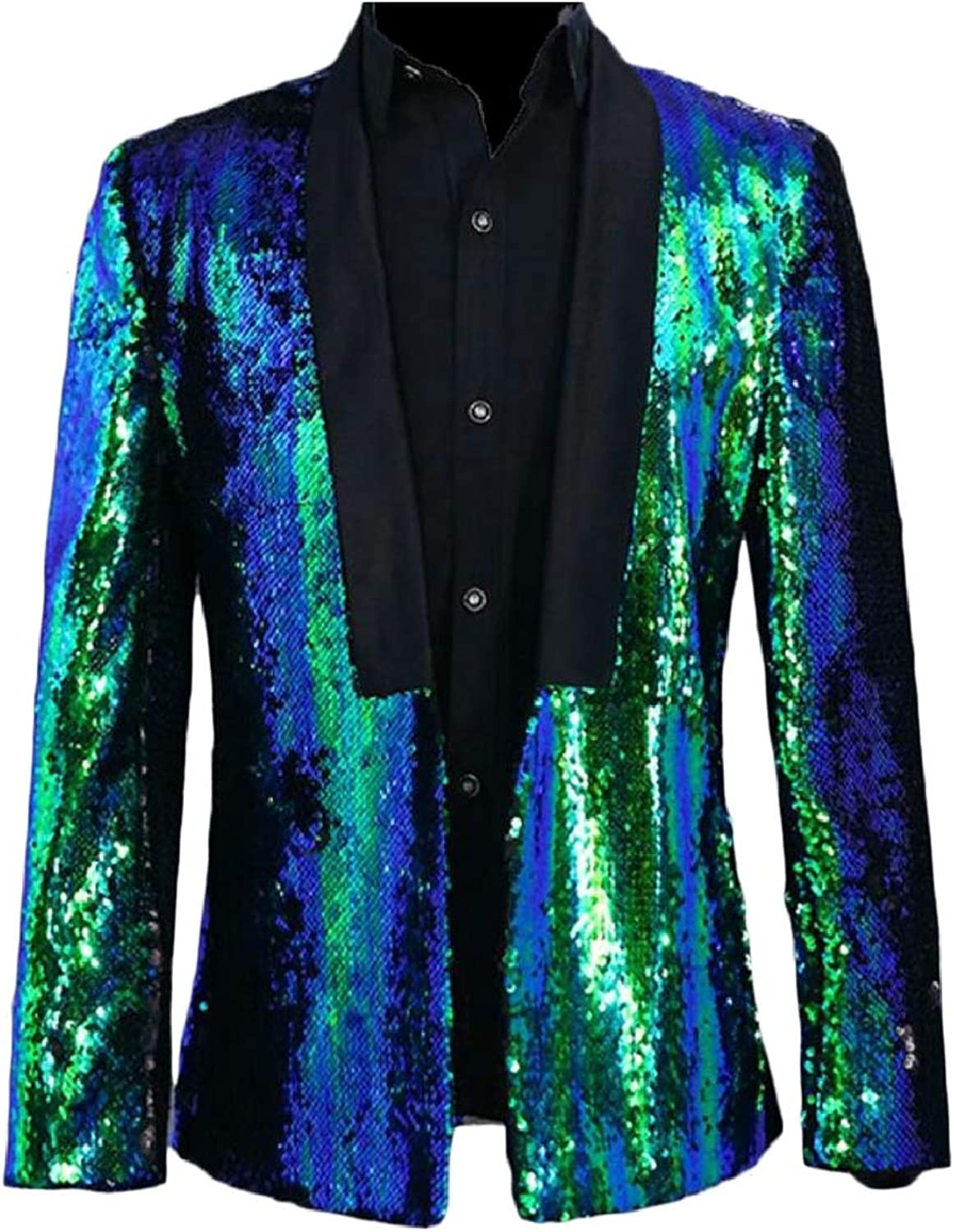 Smeiling-CA Mens Long Sleeve Sequin Print Pattern Glitter Suit Blazer Jackets