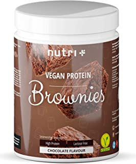 Vegan Protein Brownie Backmischung - Eiweiß Schoko Brownies 500g mit Mandelprotein - gesüßt mit Erythrit - Nutri-Plus Veggy Chocolate Brownie mit Chiasamen