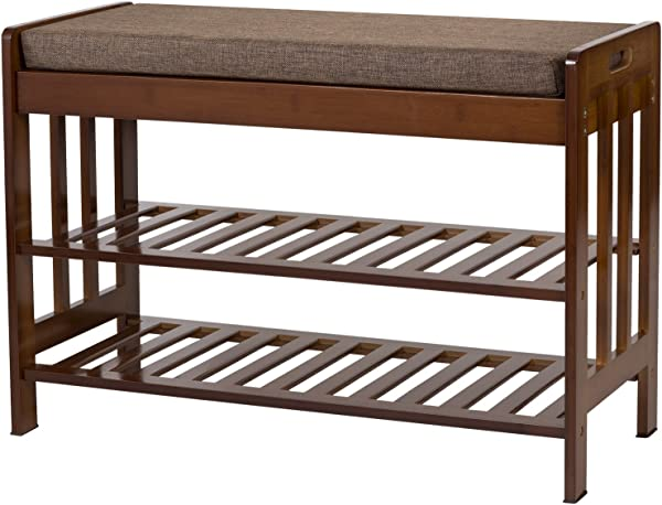 Ollieroo Natural Bamboo Shoe Rack Entryway Shoe Storage Household Shelf Shoe Bench With Cushion Size 28 1 X 11 8 X 19 7 Amber