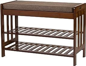 Ollieroo Natural Bamboo Shoe Rack Entryway Shoe Storage Household Shelf Shoe Bench with Cushion, Size 28.1