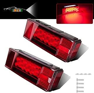 LIMICAR Rectangular LED Trailer Lights Kit Waterproof Low Profile Tail Stop Brake Turn Running License Plate Rear Lights for Trailer Truck Van Marine 12V Red (Pack of 2)