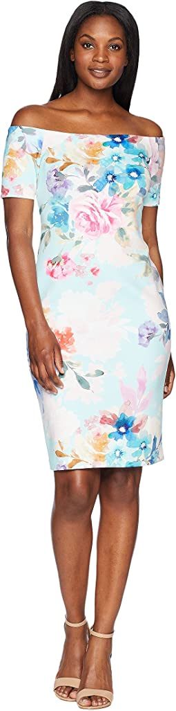 Short Sleeve Floral Sheath Dress CD8M48DK