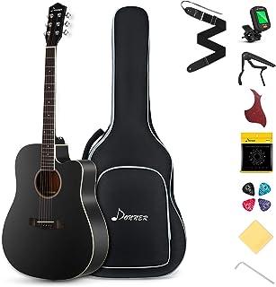 "Best Donner DAG-1CB Black Beginner Acoustic Guitar Full Size, 41"" Cutaway Guitar Bundle with Gig Bag Tuner Capo Picks Strap String Review"