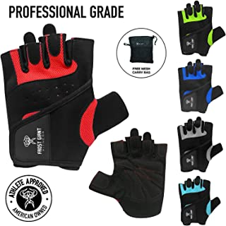 Frost Giant Fitness Weight Lifting Gloves Men's and Women's Gym Gloves – Premium Fingerless Gloves – 5 Colors – Carry Bag Included –Comfortable Padding – Sturdy Stitching and Breathable Fabric