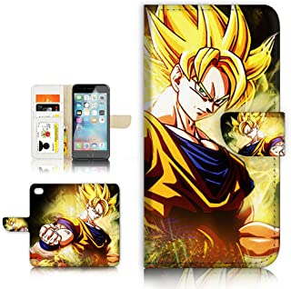(For iPhone 8 Plus / iPhone 7 Plus ) Flip Wallet Style Case Cover, Shock Protection Design with Screen Protector - B31003 Dragon Ball Goku