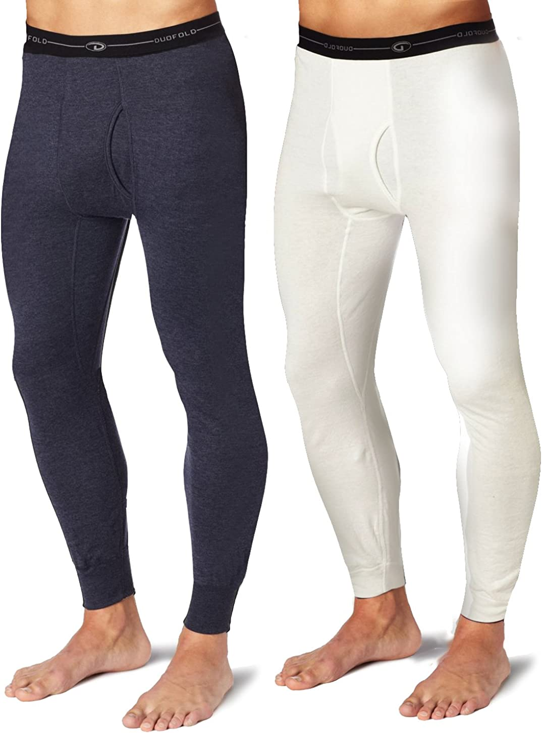 Duofold KMW2 Men's Mid Weight Wicking Thermal Pant 1 Navy + 1 Winter White