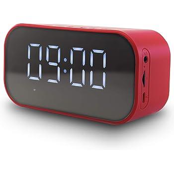 7 IN 1 Sveglia Digitale da Comodino con Cassa Bluetooth 5.0 - Orologio da Tavolo, Speaker, Altoparlanti PC con Microfono - Lettore MP3 e FM Radio Portatili - Micro SD Card 16GB in OMAGGIO - Rossa