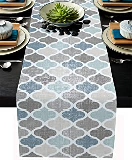 Paper Sheet Table Runner Table Band Swirly Light Blue 30x500cm Home Fashion