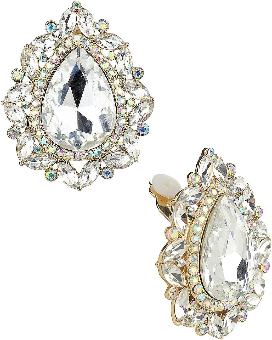 Women's Formal Gala Mini Marquise Encircle Teardrop Stone Clip On Earrings