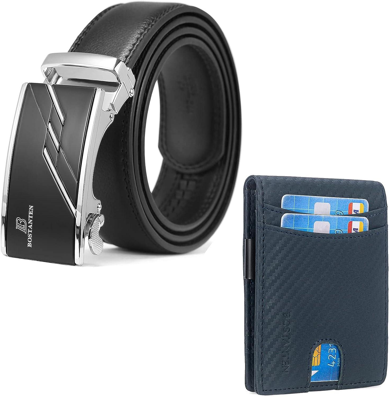 BOSTANTEN Men's Leather Ratchet Dress Belt with Automatic Sliding Buckle and Leather Wallets for Men Bifold Money Clip Slim Front Pocket RFID Blocking Card Holder Blue