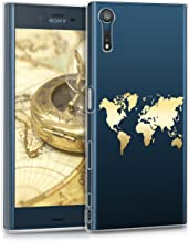 kwmobile Crystal Case for Sony Xperia XZ/XZs - Soft Flexible TPU Silicone Protective Cover - Transparent Gold 39657.21