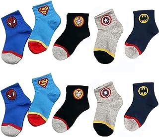 DTZW, DTZW Calcetines de algodón para niños, informales, divertidos, transpirables y cómodos, calcetines escolares deportivos de 2 a 13 años, 10 pares (tamaño: 6 a 8 años)