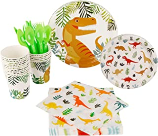 Beauenty 112 PCS Dinosaur Themed Party Supplies Party Tableware,Plates, Cups, Napkins, Cutlery- - Dinosaur Themed Birthday...