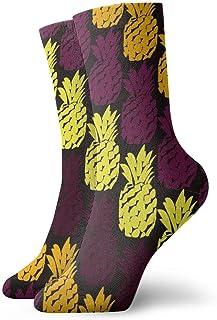 Piña colorida Calcetines cortos transpirables Calcetines clásicos de algodón de 30 cm para hombres Mujeres Yoga Senderismo Ciclismo