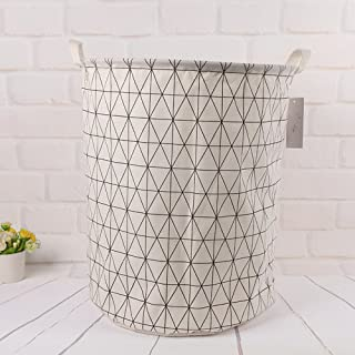 Homlifer Round Simple Print Laundry Basket, Collapsible Waterproof Fabric Laundry Hamper, Foldable Clothes Bag, Folding Washing Bin Portable Bathroom Storage Basket