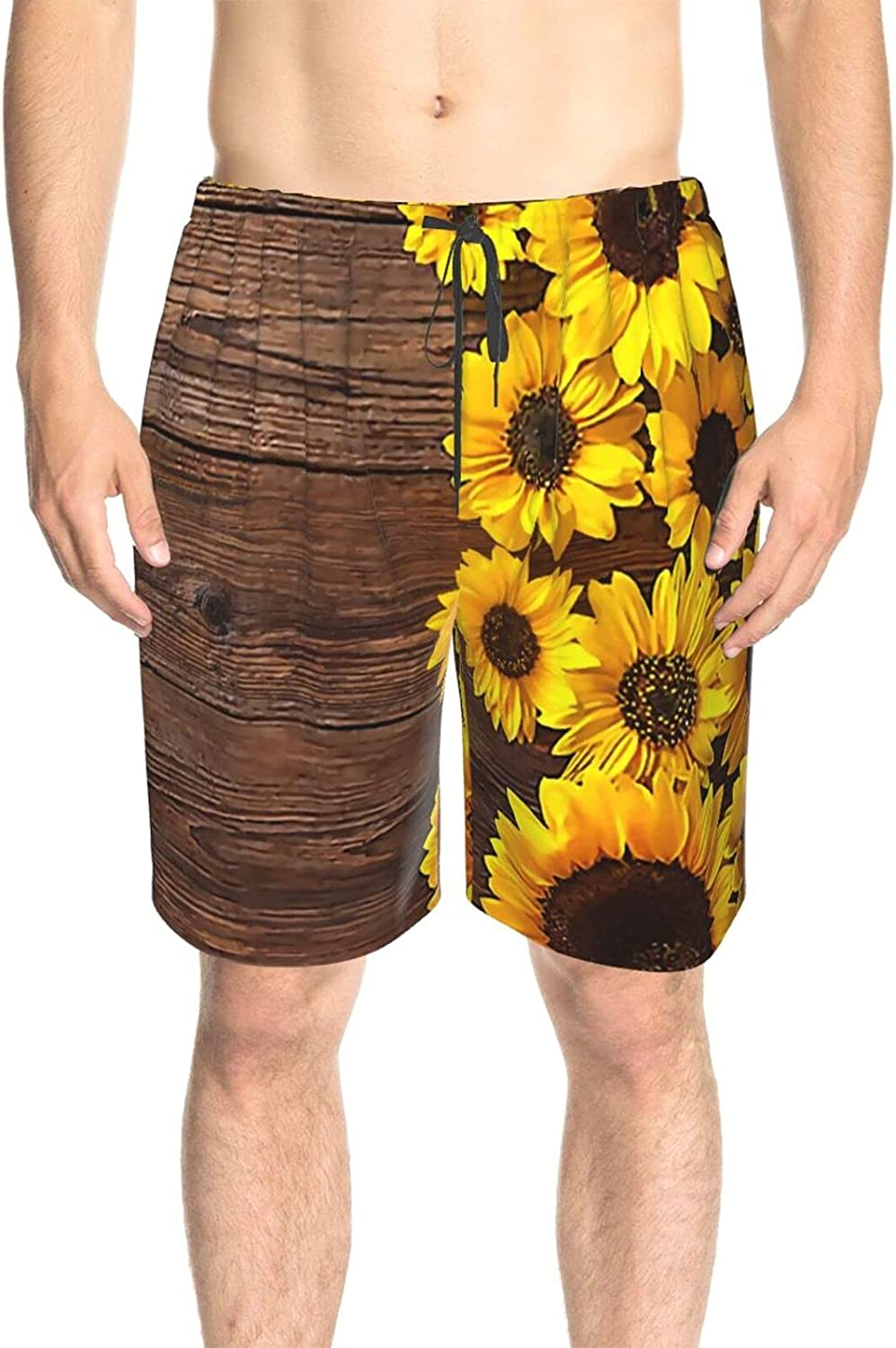 Mens Bathing Suits Sunflowers On Wooden Board Swim Short Boardshort Drawstring 3D Printed Swimwear Bathing Suits with Lining