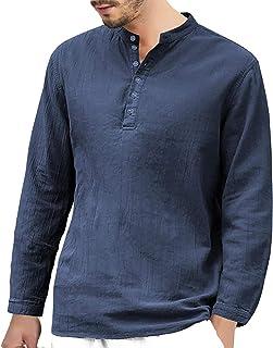 Halfword Mens Cotton Linen Henley Shirt - Long Sleeve Grandad Collarless Casual Summer Tops T-Shirt