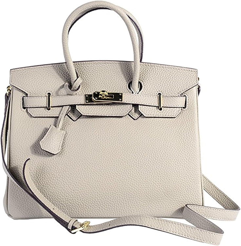 Cowhide Genuine Leather Fashion Zipper Buckle Belt Metalic Top Handle Bag Elephant Grey 25cm