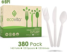 100% Compostable Forks Spoons Knives Cutlery Combo Set - 380 Large Disposable Utensils (7 in.) Eco Friendly Durable and He...