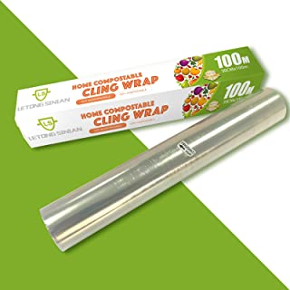 100% Compostable Cling Wrap, ASTM 6400 Certified Biodegradable Cling Wrap, Cling Film with Slide Cutter Microwave Safe, Gr...