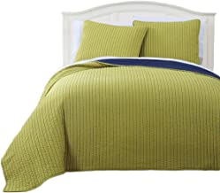 Royal Tradition Project Runway Microfiber Queen Size 3PC Reversible Coverlet Set, Citron with Navy