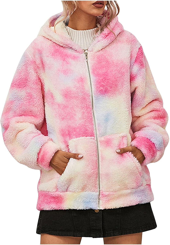 Plush Jacket Coats Women Tie-dye Print Hooded Zipper Long Sleeve Ladies Warm Winter Outwear Female Autumn Faux Fur Coat