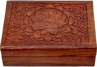 4Rissa Lotus Flower Hand-Carved Sheesham Wood Box Jewelry Trinket Tarot Memory Keepsake Storage Wooden Chest
