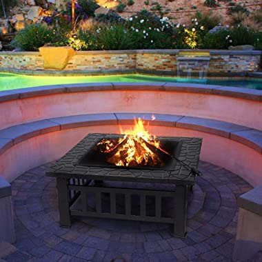 Fire Pit 32'' Metal Square Wood Burning Firepit Outdoor Fire Pit Steel BBQ Grill Fire Pit Bowl with Spark Screen Cove