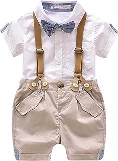 babc571b408c2 LUOTING 3 pcs Vêtements Suite Bébés Garçons Costume Bavette T-Shirt Noeud  Papillon Bleu Rayure