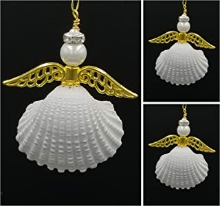 3 Seashell Handcrafted Angel Christmas Tree Ornaments with Golden Wings and Rhinestone Halo.