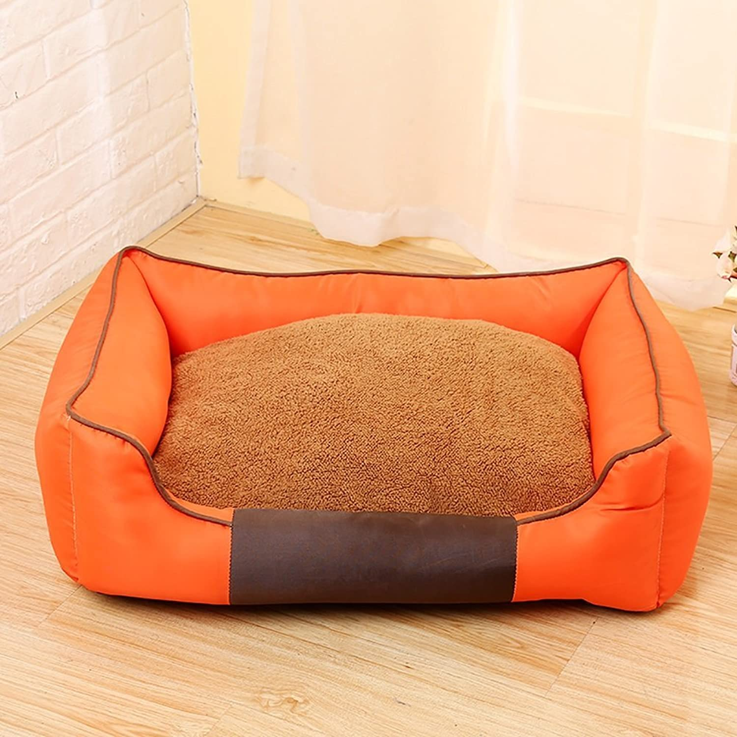 LongYu Pet Nest,Thickening Washable Cushion Pet Dog Cat Bed Sofa Nest Soft Cotton Dog Warm Kennel Bed House Pet Mats Cushion 3 color & 3 Size (color   orange, Size   S)