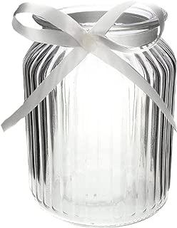 Annastore 12 x Windlichter aus Glas H 14,5 cm inkl.Dekoband, auch für große Teelichter ideal