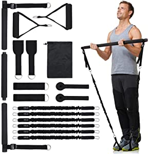 KaiSun Upgraded Pilates Bar Kit with Resistance Bands,Portable Gym Home Workout,100-300LBS Anti-Breakage Adjustable Pilates Bar System,Home Gym Full Body Men&Women- Muscle&Fitness
