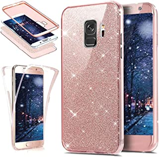 Galaxy S9 Plus Case,[Full-Body 360 Coverage Protective] Crystal Clear 2in1 Sparkly Shiny Glitter Bling Front Back Full Coverage Soft Clear TPU Silicone Rubber Case for Galaxy S9 Plus,Rose Gold