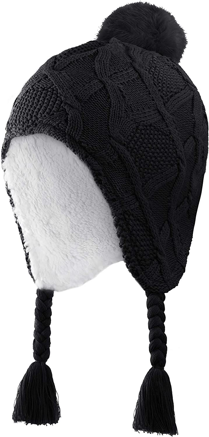 Connectyle Toddler Boys Girls Sherpa Lined Knit Kids Hat with Earflap Winter Hat