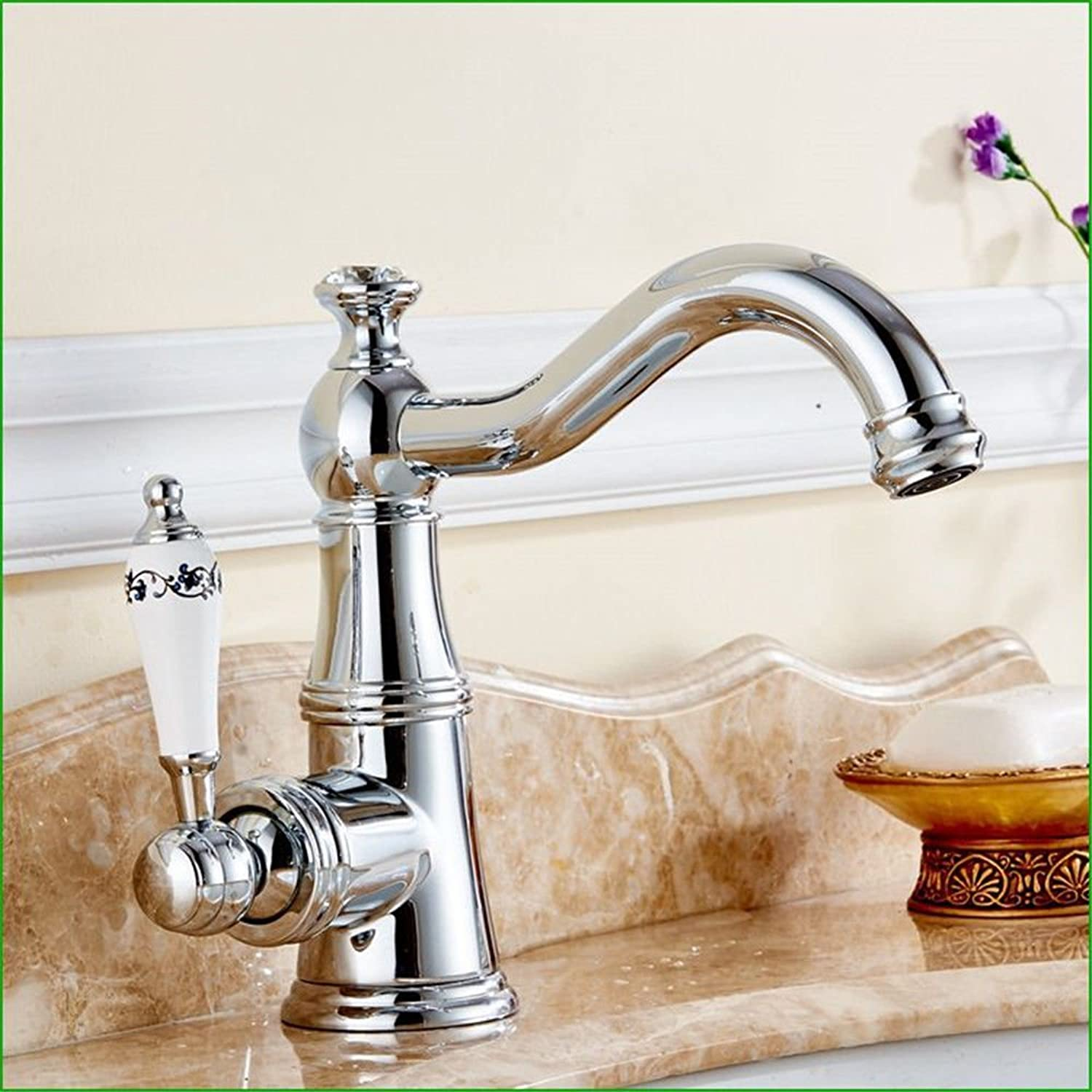 Hlluya Professional Sink Mixer Tap Kitchen Faucet Retro-copper silver chrome bathroom swivel basin sink faucet hot and cold water bathroom faucet ceramic handle