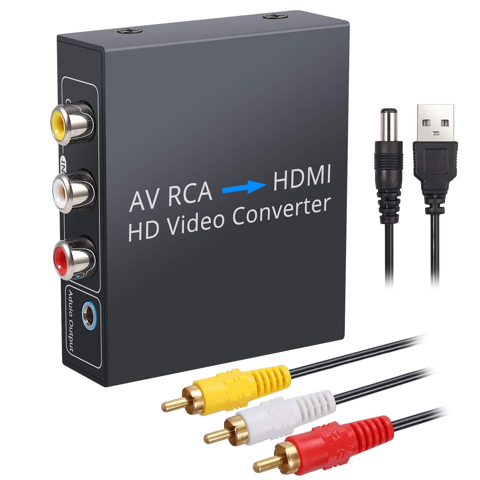 eSynic RCA a HDMI Convertidor 1080P Carcasa de Metal Compuesto CVBS AV a HDMI Video Audio