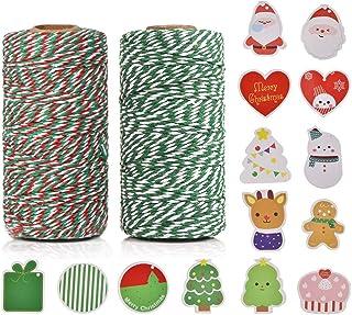 100% Baumwolle Handwerk Xmas Urlaub Bindfäden, Bäcker Schnur für DIY Handwerk und Geschenkverpackung Bonus mit 14 Stück Weihnachtskarten, 100 m 2 Rolle by OITUGG Grün  Mehrfarbig