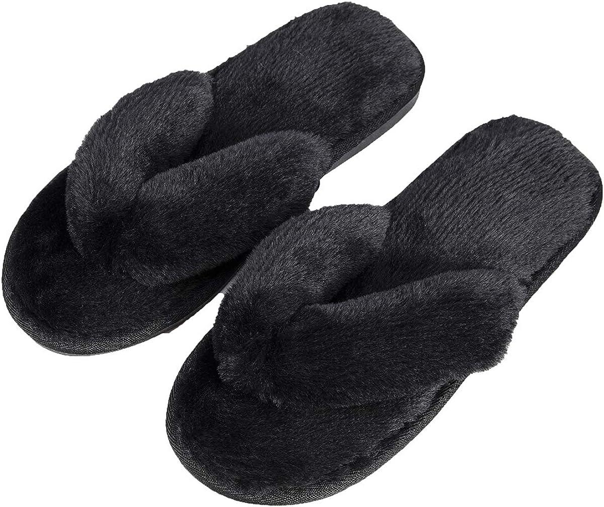 Women Thong Home Slippers Plush Flip-Flops Soft Non Slip Indoor House Spa Fur Slipper Fluffy Slide Shoes