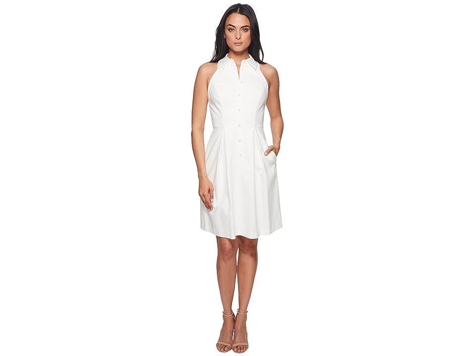Adrianna Papell Button Up Halter Dress (Ivory) Women