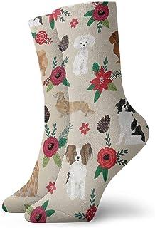 Calcetines de algodón acolchados para entrenamiento, senderismo, senderismo, atletismo, para hombres y mujeres, perros de Navidad, color marrón
