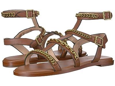 COACH Haddie Multi Chains Gladiator Flat Sandal (Saddle Leather) Women