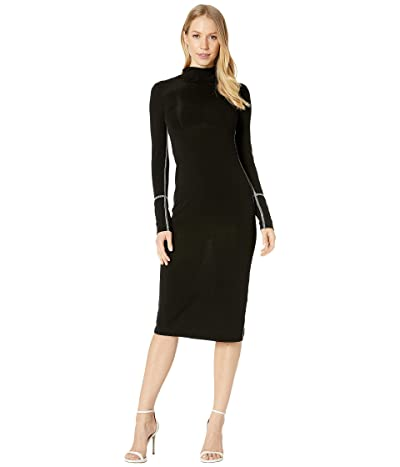 BCBGMAXAZRIA Turtleneck Jersey Dress (Black) Women