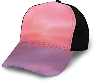 Printed Adjustable Baseball Cap,Beautiful Vanilla Sky with Clouds Tenderness Dreamy Unreal Soft Heavenly,Hat for Men Women...