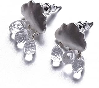 Edtoy Silver Color Simple Cloud Shape Earrings with Crystal Raindrops Pendant Jewelry