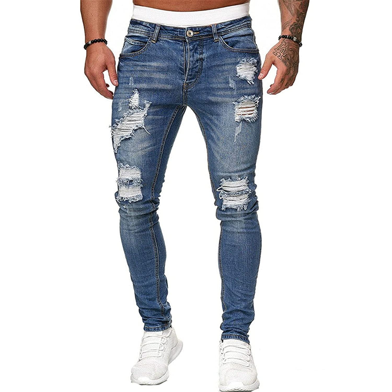Men's Ripped Jeans Distressed Destroyed Fit Ski Popular overseas Ultra-Cheap Deals Pants Denim Slim