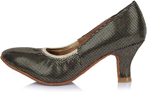 YFF Toe fermé Professionnel Chaussures de Danse Moderne de Bal en Cuir Chaussures de Danse Tango Salsa Party Danse Latine Chaussures Femmes Filles,58mm 30628,3.5
