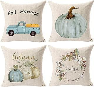Wakeu Fall Pillow Covers 18x18 Set of 4 Harvest Pumpkin on Truck Pillowcases Wreath Halloween Decorative Cushion Case with Zipper (01)