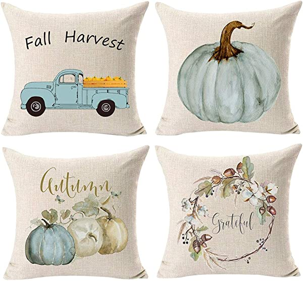 Wakeu Fall Pillow Covers 18x18 Set Of 4 Harvest Pumpkin On Truck Pillowcases Wreath Halloween Decorative Cushion Case With Zipper 01
