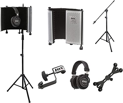 popular LyxPro VRI 10 Portable Acoustic Isolation Instrument Shield, Sound Absorbing Panel with Heavy Duty Studio Overhead Boom Stand with Rolling Coasters & sale lowest Adjustable Universal Smartphone Tablet Holder online sale